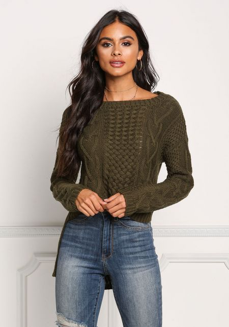 Olive Cable Knit Hi-Lo Sweater