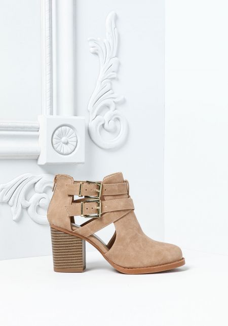 Camel Leatherette Strappy Buckle Ankle Booties