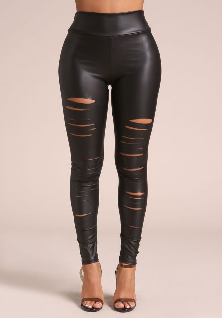 Black Slashed Leatherette Leggings