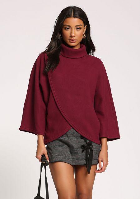 Burgundy Turtleneck Surplice Felt Sweater Top