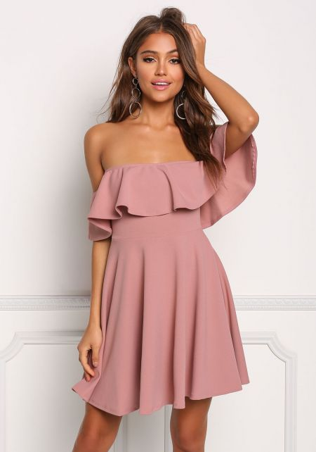 Mauve Ruffle Flared Off Shoulder Dress