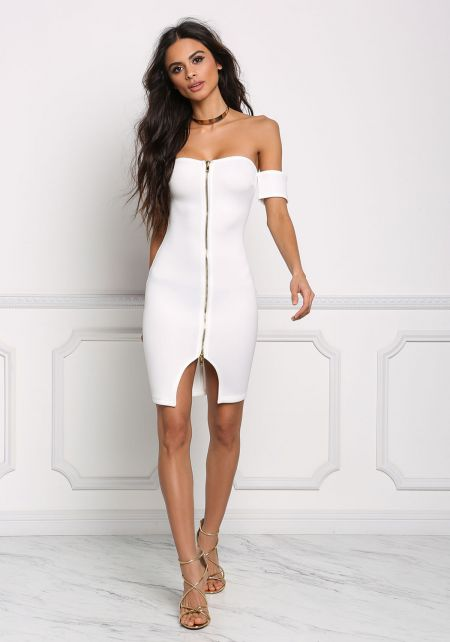 Ivory Scuba Knit Off Shoulder Bodycon Dress