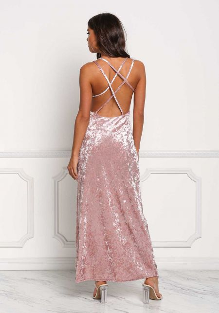 Mauve Crushed Velvet Back Cross Strap Slit Maxi Dr