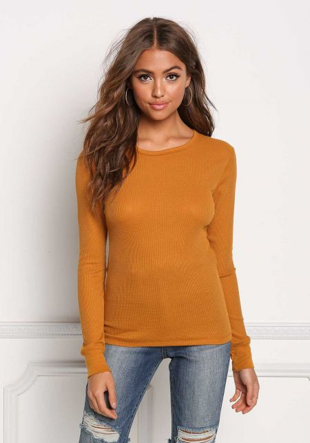 Mustard Basic Thermal Pullover Top