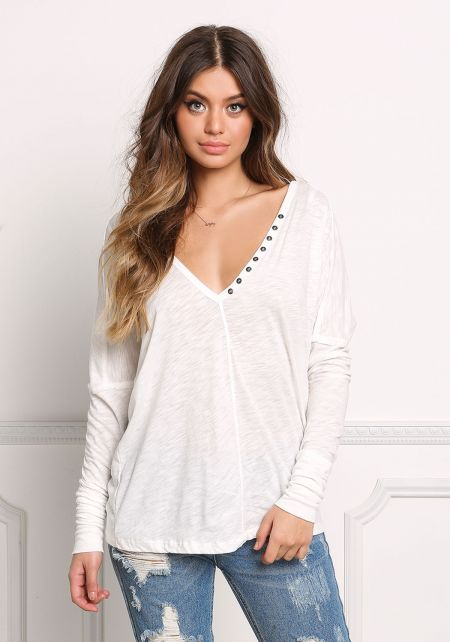 Ivory Marled Button Trim Top
