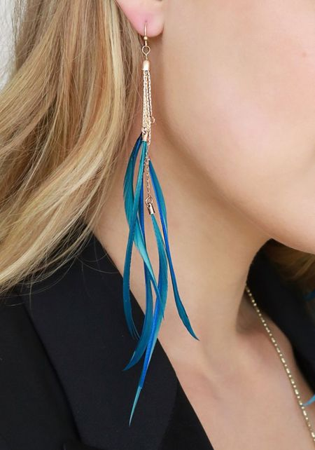 Teal Thin Chain Feather Earrings