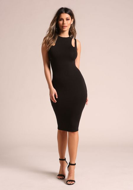 Black Double Strap Sleek Bodycon Dress
