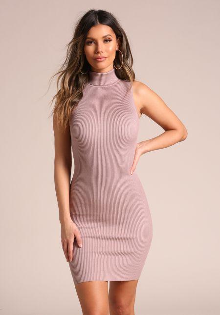 Mauve Ribbed Knit Bodycon Dress
