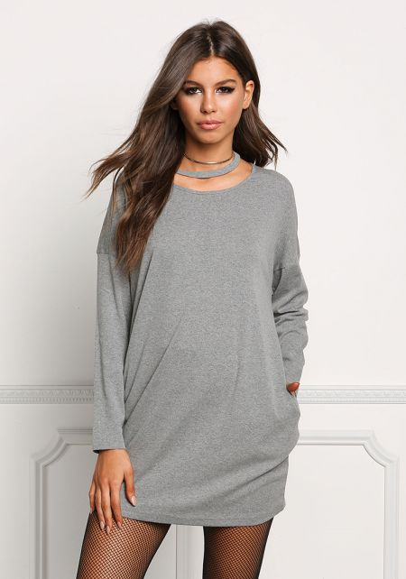 Heather Grey Choker Jersey Knit Shift Dress