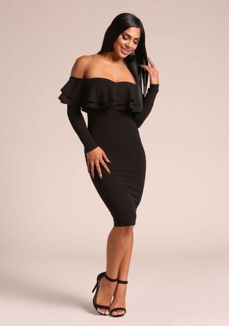 Black Ruffle Layered Off Shoulder Bodycon Dress