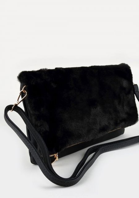 Black Faux Fur Leatherette Clutch