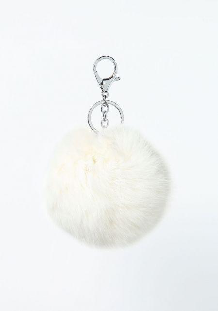 White Furry Pom Pom Key Chain