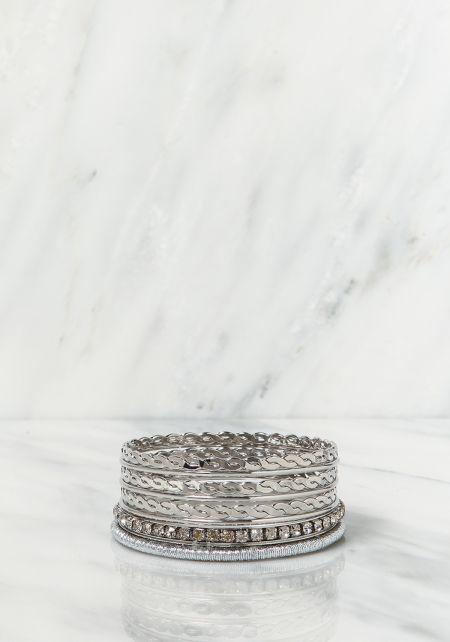 Silver Assorted Bangle Bracelets Set
