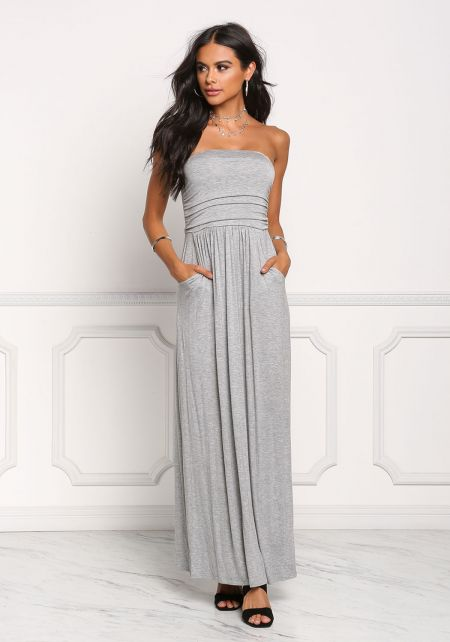 Heather Grey Strapless Ruched Pocket Maxi Dress