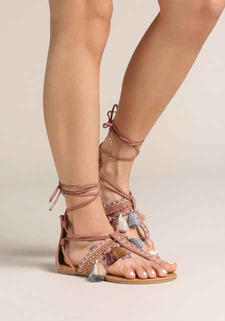 Mauve Tassel Lace Up Thong Sandals