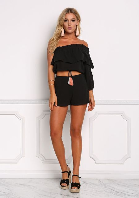 Black Crepe High Rise Shorts