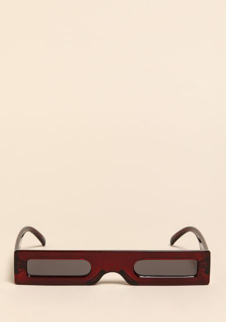 Burgundy Micro Rectangular Sunglasses