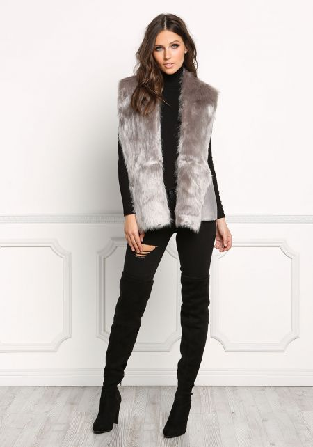 Light Grey Faux Fur Suedette Vest