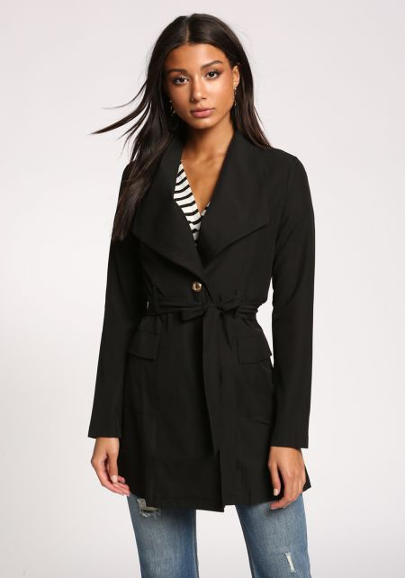 Black Single Breasted Pocket Waist Tie Duster Jacket