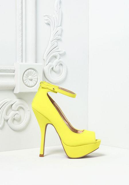 Neon Yellow Suedette Open Toe Ankle Strap Heels