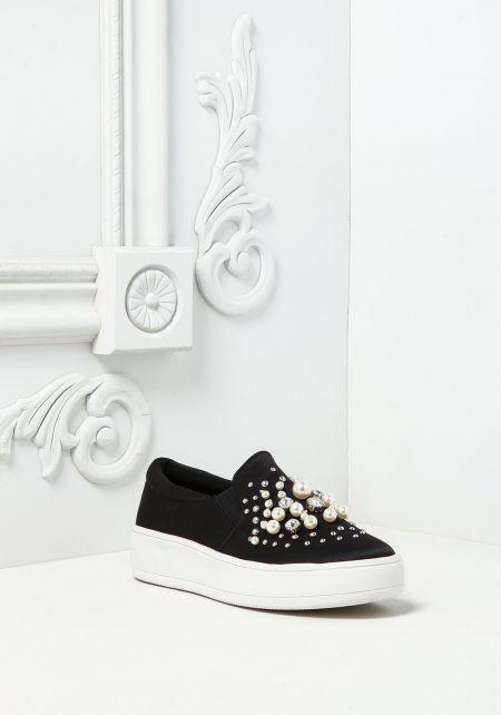 Black Pearl & Rhinestone Slip On Sneakers