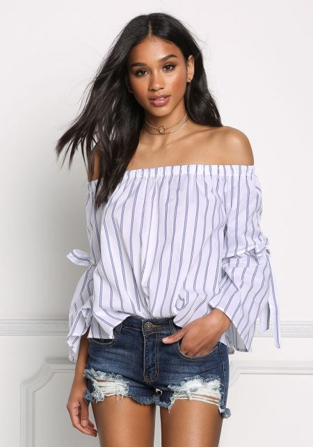 Ivory Pinstripe Off Shoulder Tie Strap Blouse