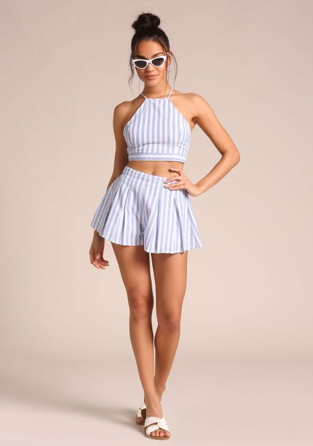 Blue Pinstripe Flared Shorts