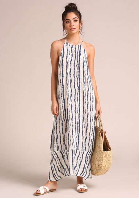 Navy Printed Cut Out Racer Maxi Dress