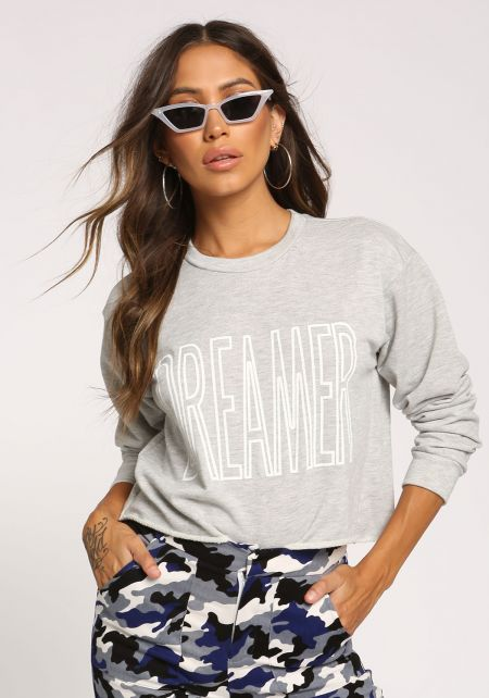 Grey Dreamer Cropped Pullover Top