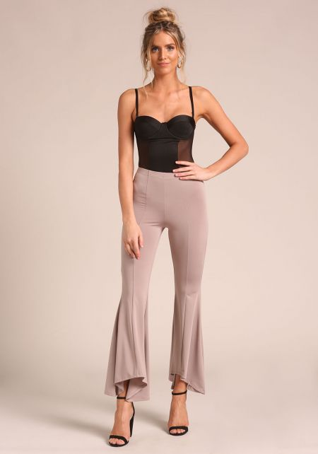 Taupe High Rise Bell Bottom Pants