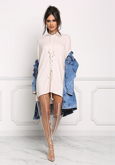 Taupe Front Lace Up Hooded Shift Dress