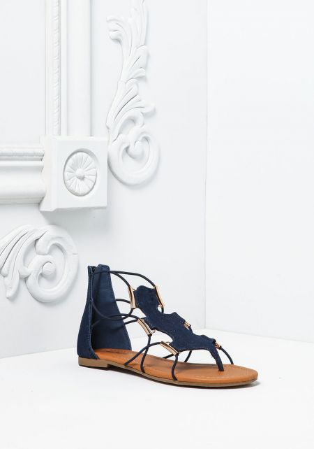 Denim Cut Out Gladiator Sandals