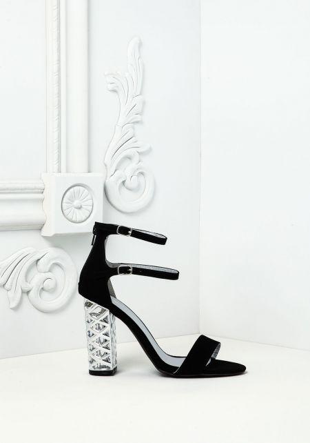 Black Suedette Double Strap Plaque Heels