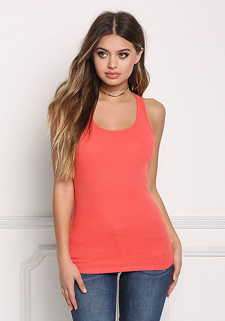Coral Ribbed Knit Racerback Tank Top