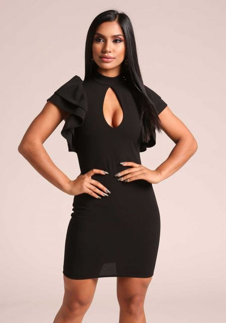 Black Ruffle Puff Sleeve Keyhole Bodycon Dress