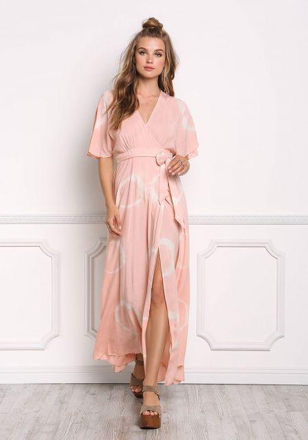 Blush Tie Dye Wrap Maxi Dress