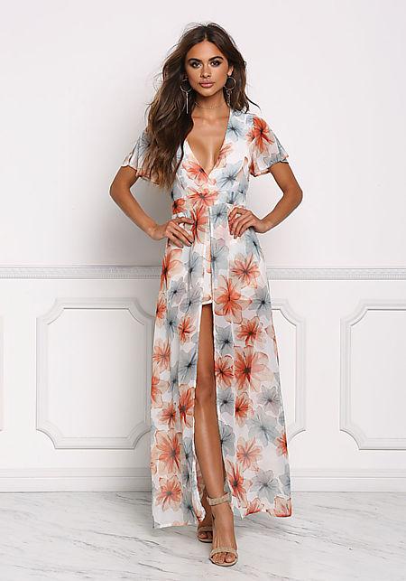 Multi Floral Shorts Maxi Dress