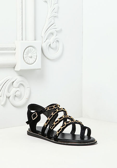 Black Chain Trim Sandals