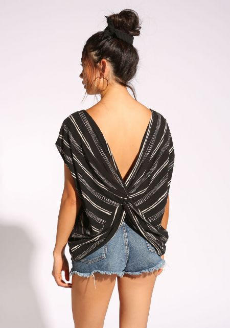 Black Twisted Back Pinstripe Blouse