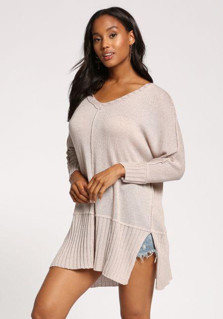 Light Mocha Tunic Slit Sweater Top