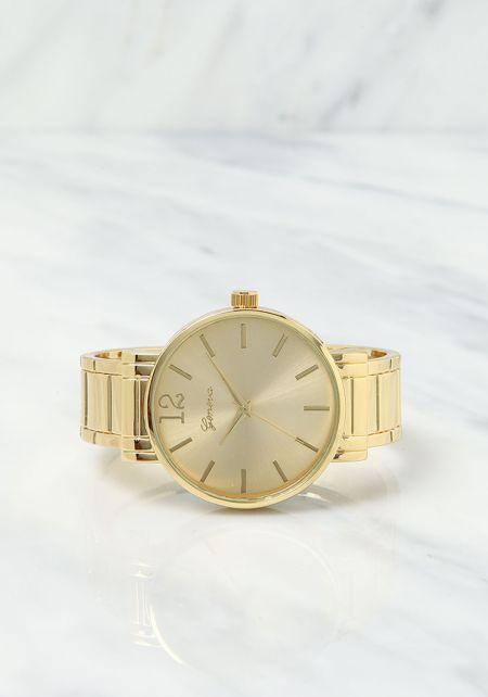 Gold Analog Watch Cuff
