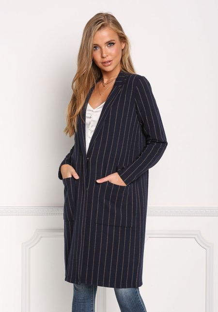 Navy Pinstripe Longlined Pocket Blazer