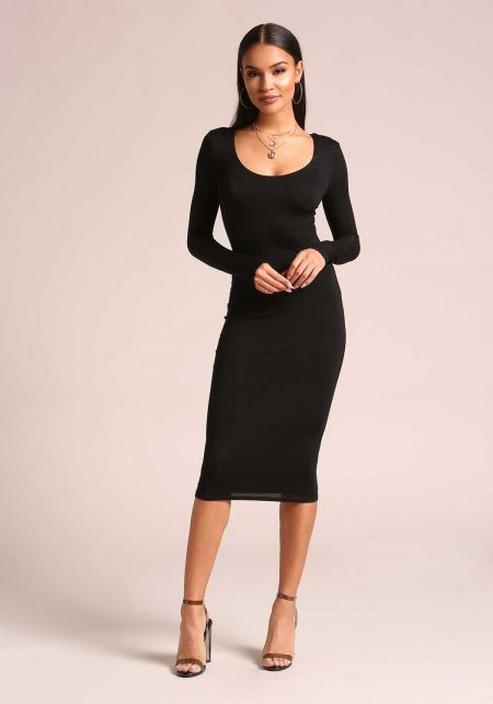 Black Jersey Knit Bodycon Dress