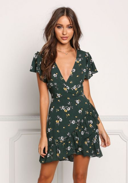 Hunter Green Floral Crepe Layered Flared Dress