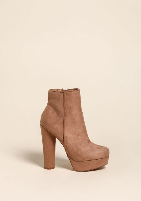 Taupe Platform Suedette Booties