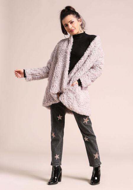 Lilac Shaggy Soft Faux Fur Coat