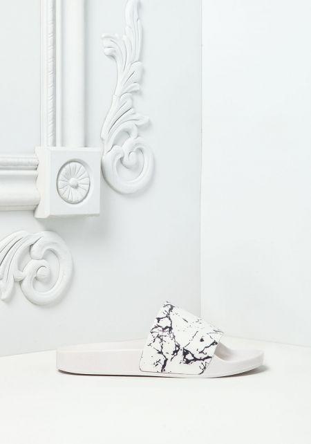 White Marble Print Slide Sandals