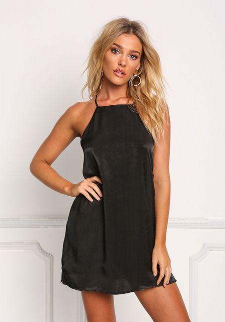 Black Silky Side Strap Shift Dress