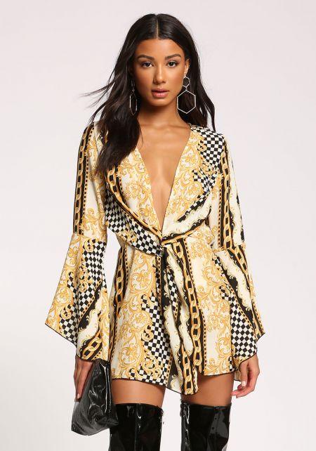 Ivory Multi Print Twisted Flared Dress
