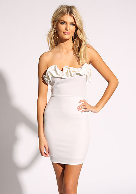 db39aa3eb95e White Ruffle Strapless Bodycon Dress ...